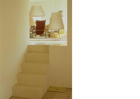 stairs fire place room